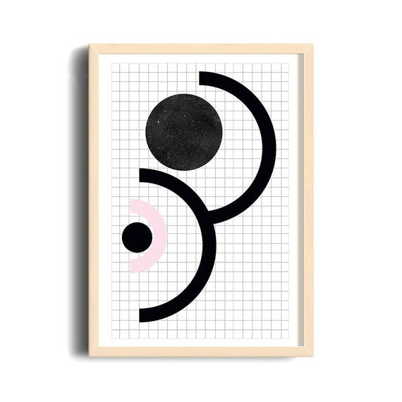 90S STYLE // Poster, Abstract art, 12x18, minimalist art, geometric print, 90s style, cercle, star texture, black ank pink, criss-cross