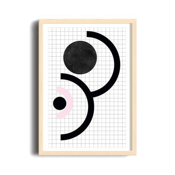 90S STYLE // Poster, Abstract art, 12x18, minimalist art, geometric print, 90s style, cercle, star texture, black ank pink, criss-cross