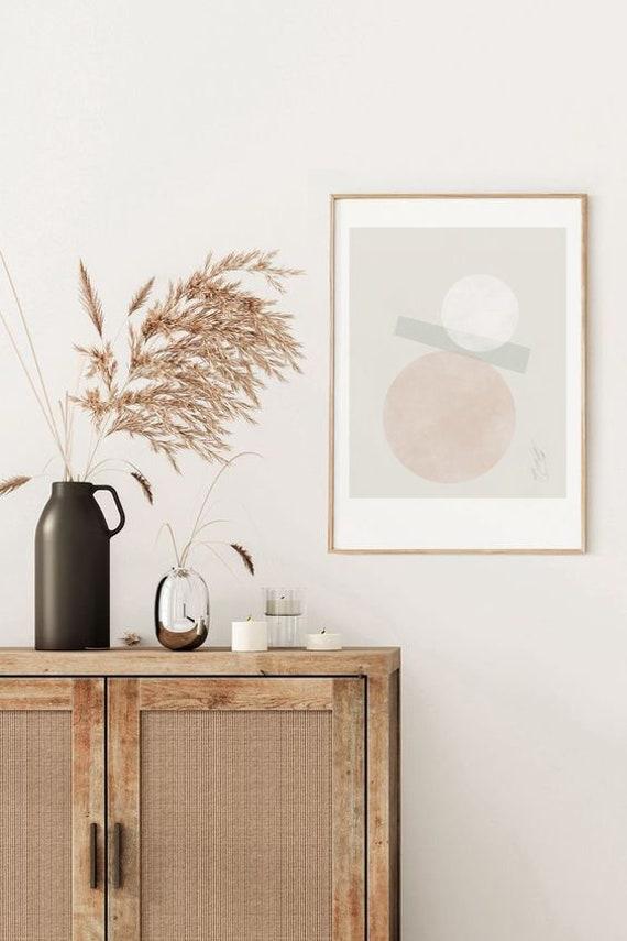 BÉATITUDE #01 // 18X24, Minimalist poster, mid-century inspiration, geometric shapes, pink