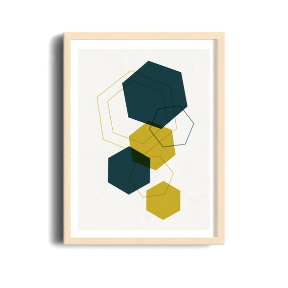 MULTI DIAMOND // Mid Century Poster, 12X18, geometric art, diamond, green, vintage style