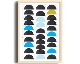 MULTIPLICITY // Mid Century minimalist Poster, 18x24, geometric art, half circles, bleu, yellow