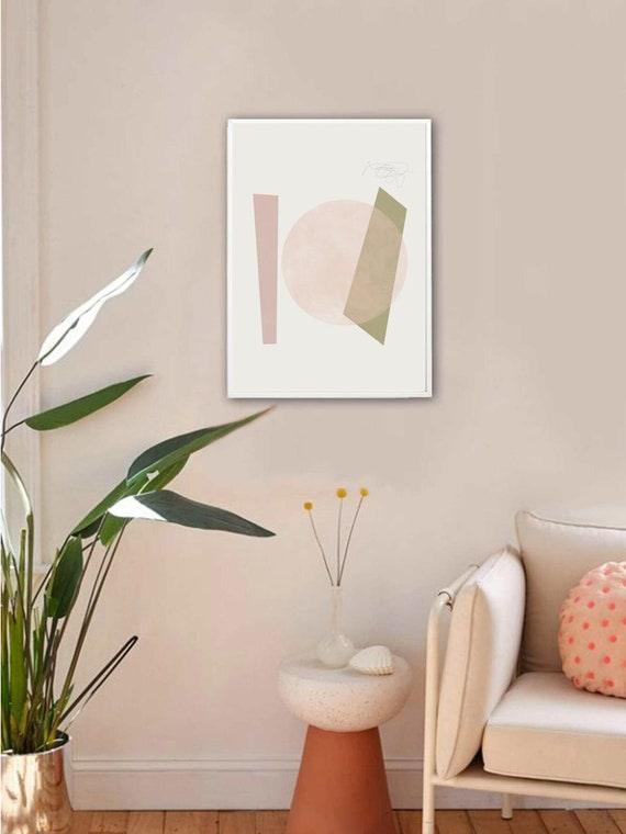 BLISS #03 // mid century modern, 16x20, 18X24, Minimalist poster, mid-century inspiration, geometric shapes, pink, wall art, boho decor, art