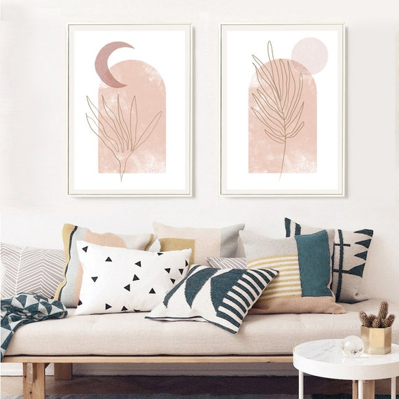 DUO moon and sun //  Mid Century Poster, 12x18, minimalist art print, Pastel colors, abstract, art