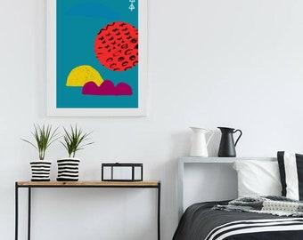 Mid Century Modern poster, 18x24, abstract art, scandinavian, blue, red
