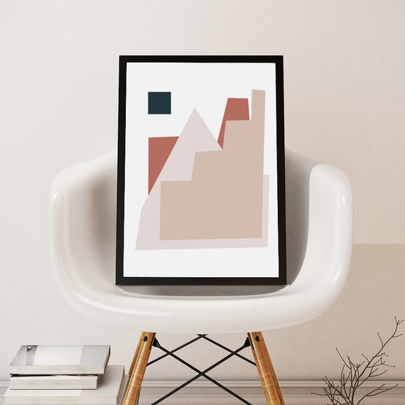 ABSTRACT CITY ART //  Mid Century Poster, 8x10, 12x16, 18x24, minimalist art print, Pastel colors, abstract, art