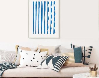 GRÈCE #003 // poster, Abstract art, 12x18, minimalist art print, geometric, mid century, Scandinavian style, blue, greece