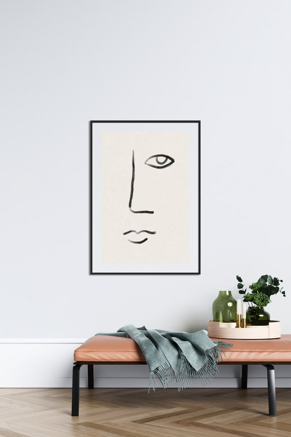 FACE LINES // Mid Century Poster, 8x10, 10x10, 18x24, minimalist art print, Pastel colors, abstract, art