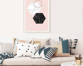 DIAMOND AND MARBLE // Mid Century poster, 24x36, abstract art, diamonds, pink