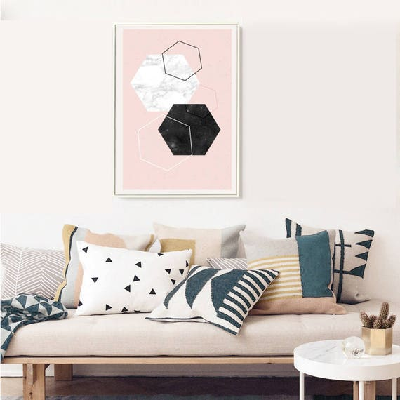 DIAMOND AND MARBLE // Mid Century poster, 24x36, abstract art, diamonds, pink