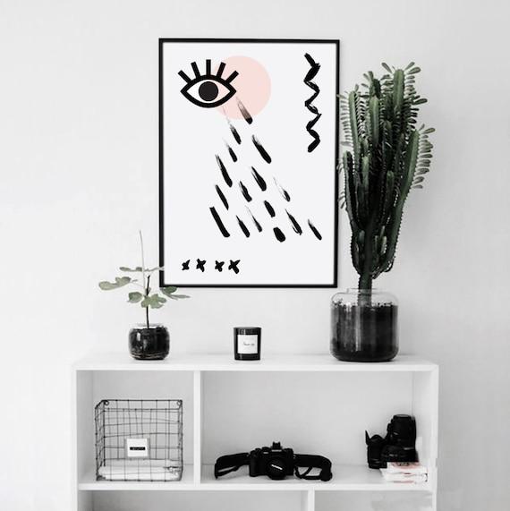 MAUVAIS OEIL #05 // Mid Century minimalist Poster, 24x36, geometric art, eye, abstract art, minimal art, pink, vintage, scandinavian poster