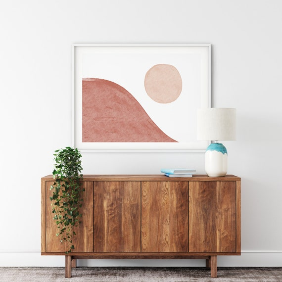 SUNSET //  Mid Century Poster, 8x10, 10x10, 18x24, minimalist art print, Pastel colors, abstract, art