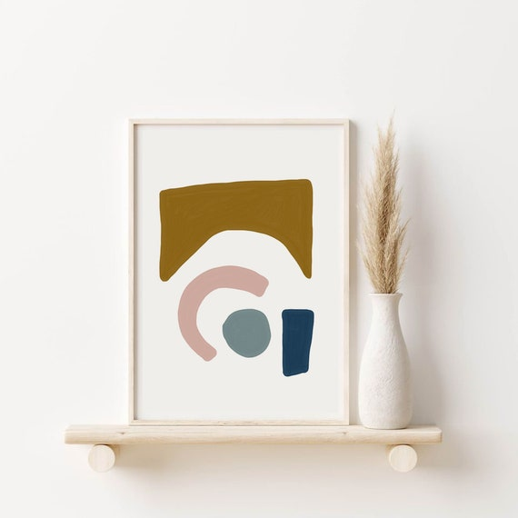 MID CENTURY SHAPES // abstract poster, 8x10, 18x24, minimalist art print, Pastel colors, geo poster, pampa style decor, vintage, boho decor