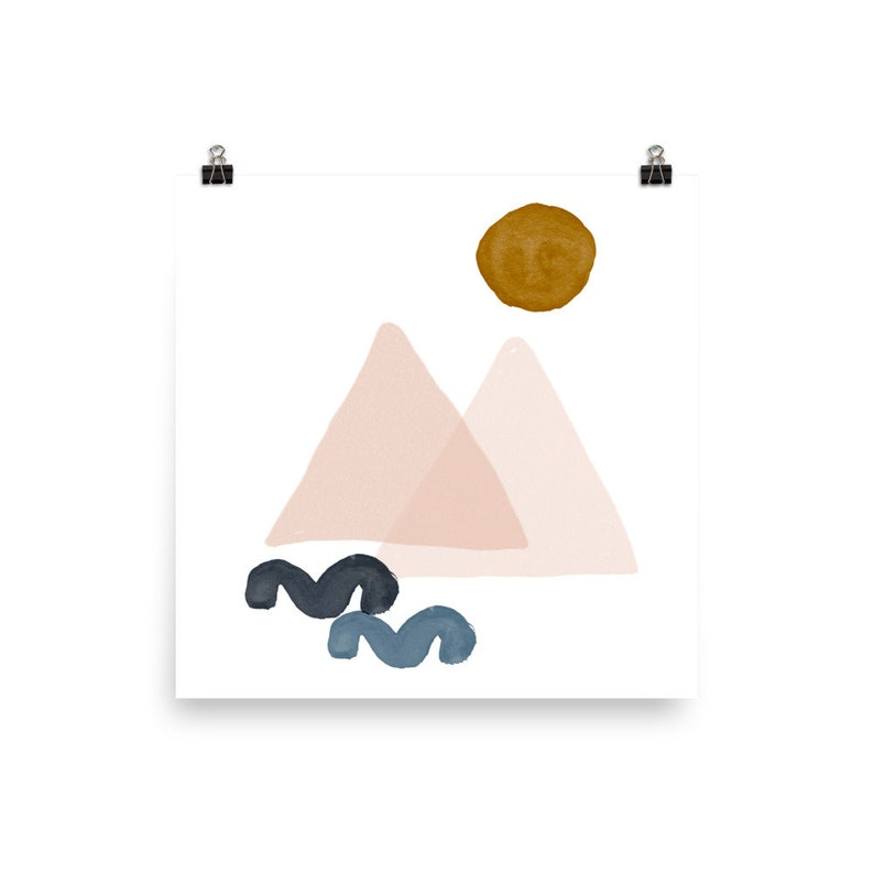 18x24 circle pink Pastel colors minimalist art print MOUNTAINS AND SUN   Mid Century Poster 10x10 8x10 abstract art