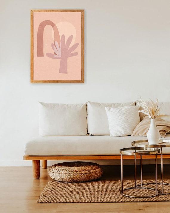 IDYLLIC // Mid Century Poster, 8x10, 10x10, 18x24, minimalist art print, Pastel colors, abstract, art, landscape, pink