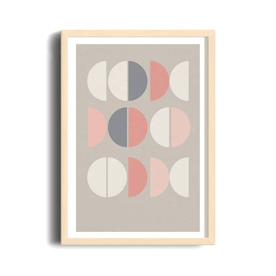 la VIE EN ROSE // Abstract art, 12x18, minimalist print, geometric print, mid century, Scandinavian, pink, cercles, abstract, pastel color