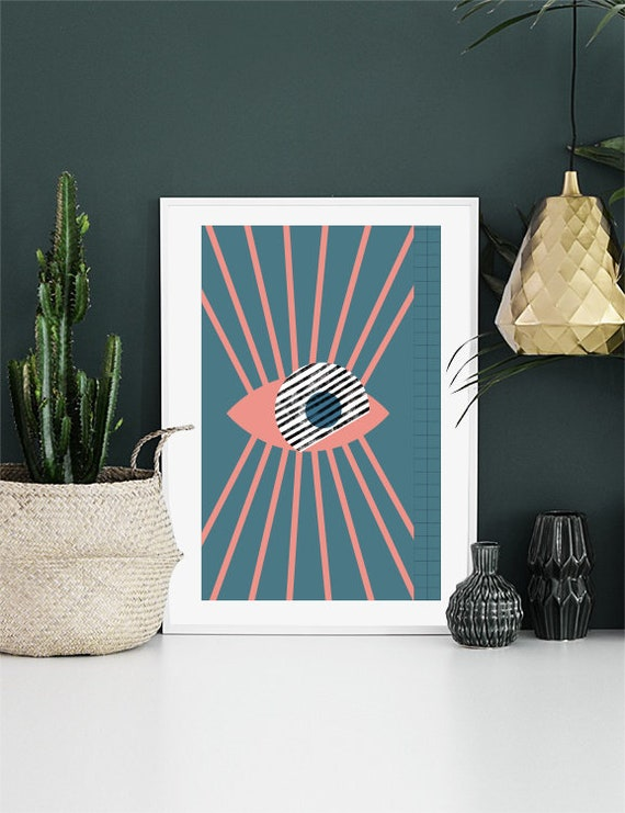 Eye // Poster, Abstract art, 12x18, minimalist art, geometric print, 90s style, cercle, star texture, black ank pink, criss-cross