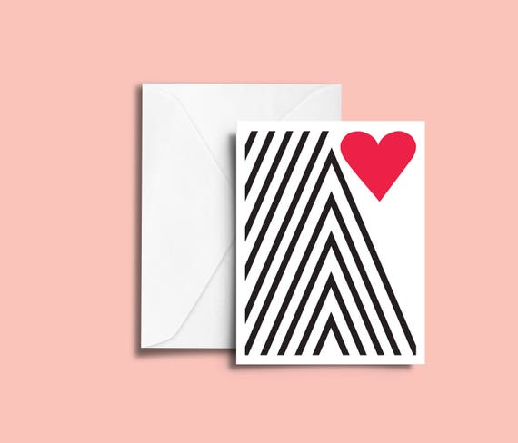 VALENTIN'S DAY Valentine mountain // Valentine's day Card, Scandinavian Design, Pastel colors, abstract art