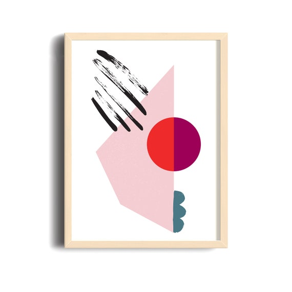 Meeting Point-03 // 12x18, Minimalist embroidered poster, mid-century inspiration, geometric shapes, orange, purple