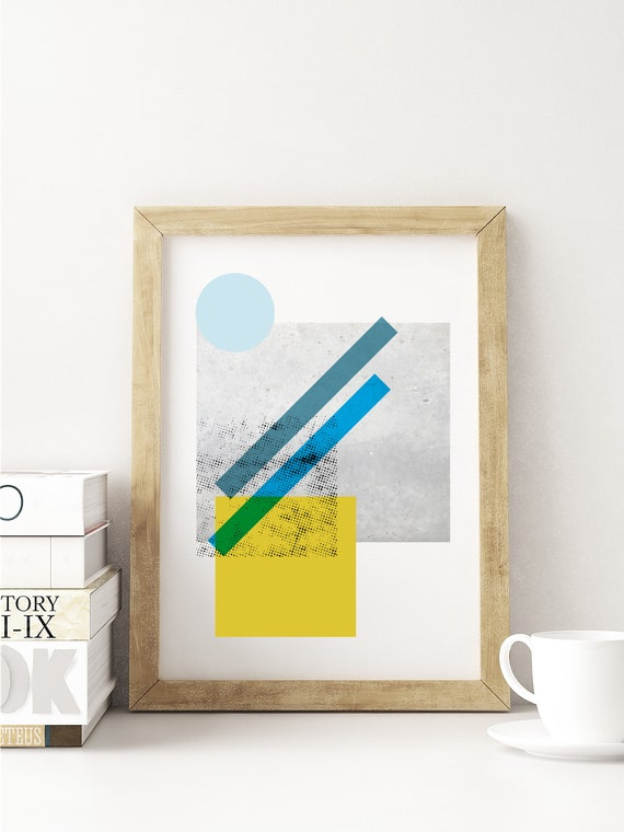 Abstract summer night// Mid Century Poster, 12x18, minimalist art print, geometric print, blue and yellow abstract