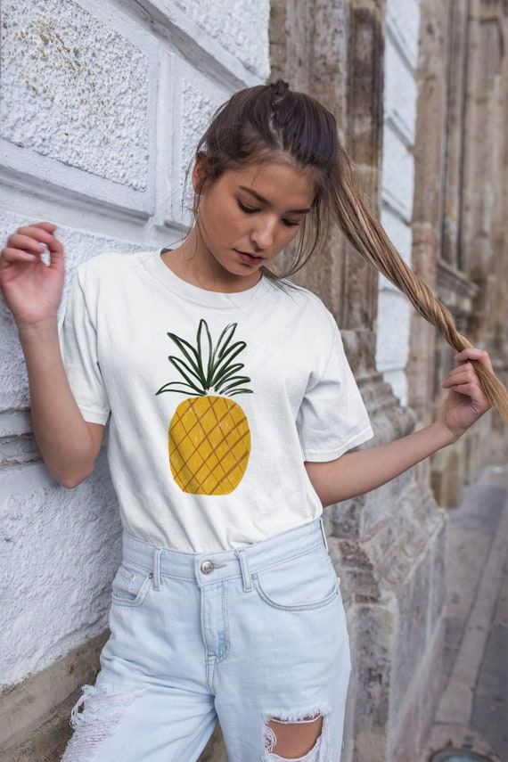 PINEAPPLE TSHIRT // Short-Sleeve Unisex T-Shirt, white, abstract art, geometrie art, pastel colors, drawing