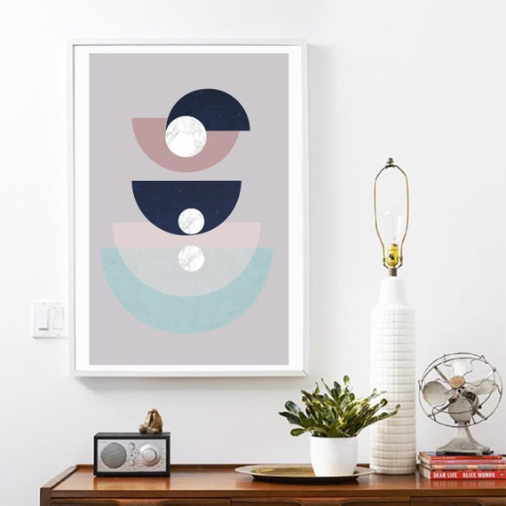 SIMONE // Mid Century Poster, 12x18, minimalist art print, geometric print, mountains, Pastel colors, abstract, art, Triangles