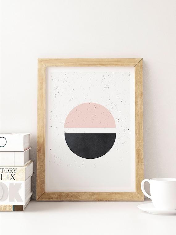 HALF HALF // Poster, Abstract art, 12x18, minimalist art print, geometric print, mid century, Scandinavian style, cIrcle, pink