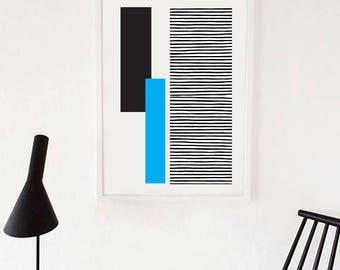 GEO LANDSCAPE blue // Poster Abstract art, 18x24, minimalist art, geometric print, scandinavian style, Nordic design, blue and black