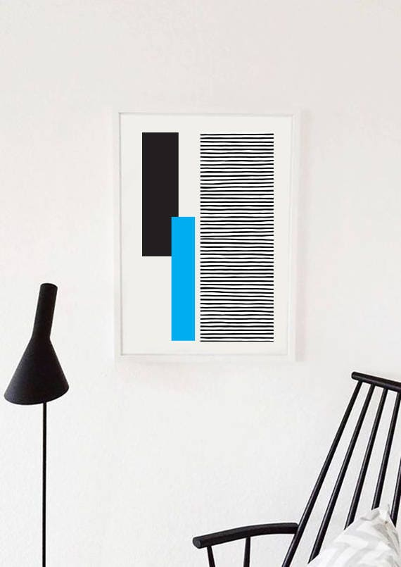 GEO LANDSCAPE blue // Poster Abstract art, 23.25 x 30.5, minimalist art, geometric print, scandinavian style, Nordic design, blue and black