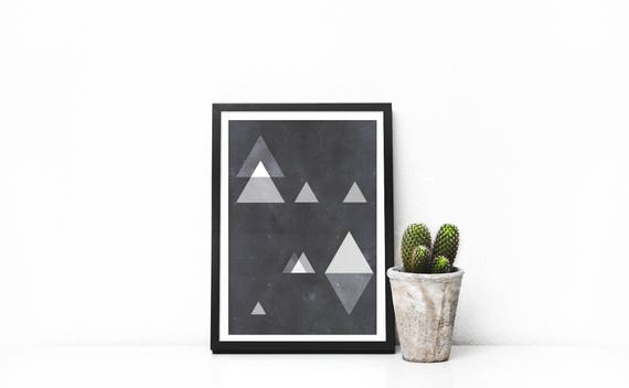 small print triangles odyssée  17/5000 odyssey triangles // 5x7, Scandinavian Design, minimalist art print, abstract art, black and pink