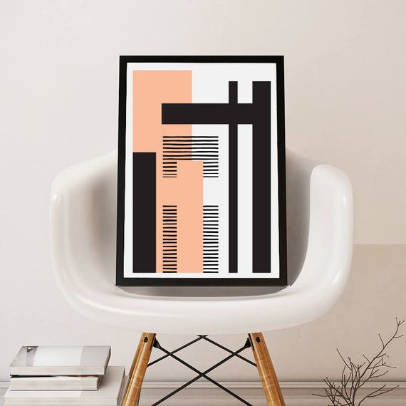 GEO LANDSCAPE pink // Poster Abstract art, 12x18, minimalist art, geometric print, scandinavian style, Nordic design, black and white