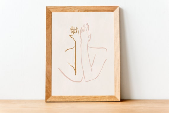MID CENTURY hands //  Mid Century Poster, 8x10, 10x10, 18x24, minimalist art print, Pastel colors, abstract, art, line art, body art