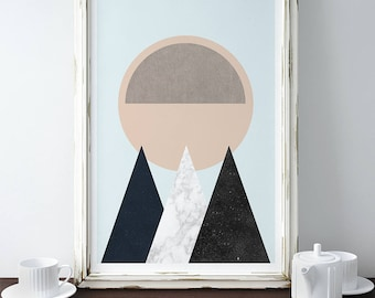 MOUNTAINS AND SUN // Mid Century Poster, 18x24, minimalist art print, geometric print, mountains, Pastel colors, abstract, art, Triangles