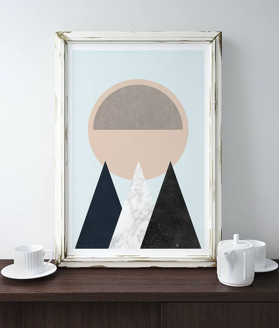 MOUNTAINS AND SUN // Mid Century Poster, 12x18, minimalist art print, geometric print, mountains, Pastel colors, abstract, art, Triangles