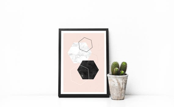 small print  diamonds and marble // 5x7, Scandinavian Design, minimalist art print, abstract art, black and pink