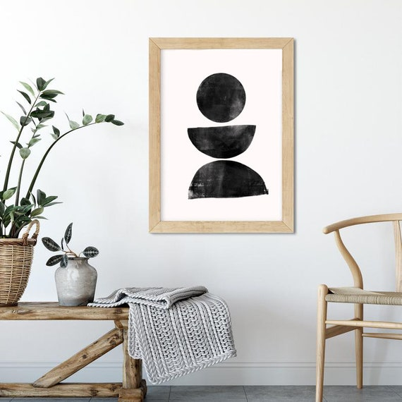 STABILITY // Mid Century Poster, 8x10, 10x10, 18x24, minimalist art print, black and white, abstract, art, circle, drawing