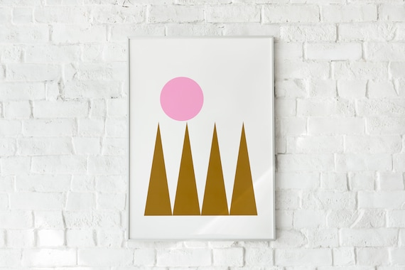MOUTAINES AND SUN  // Abstract Poster, 8x10, 16X20, 18x24, minimalist art print, Pastel colors, boho, vintage, pink, brun