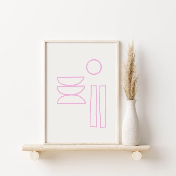 TRIADE //  Mid Century Poster, 8x10, 12x16, 18x24, minimalist art print, Pastel colors, abstract, art, circle, pink