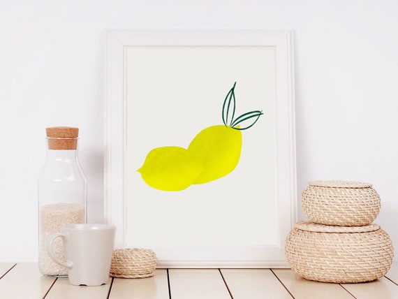 LEMON poster //  Mid Century Poster, 8x10, 12x18, 18x24, minimalist art print, Pastel colors, abstract, art