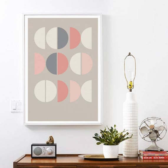 LA VIE en ROSE // Poster, Abstract art, 18x24, minimalist art print, geometric print, abstract, Scandinavian style, nordic design, pink