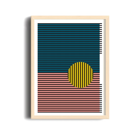 MULTI LINES // Mid Century poster, 18x24, abstract art, scandinavian, vintage poster, lines, minimal art