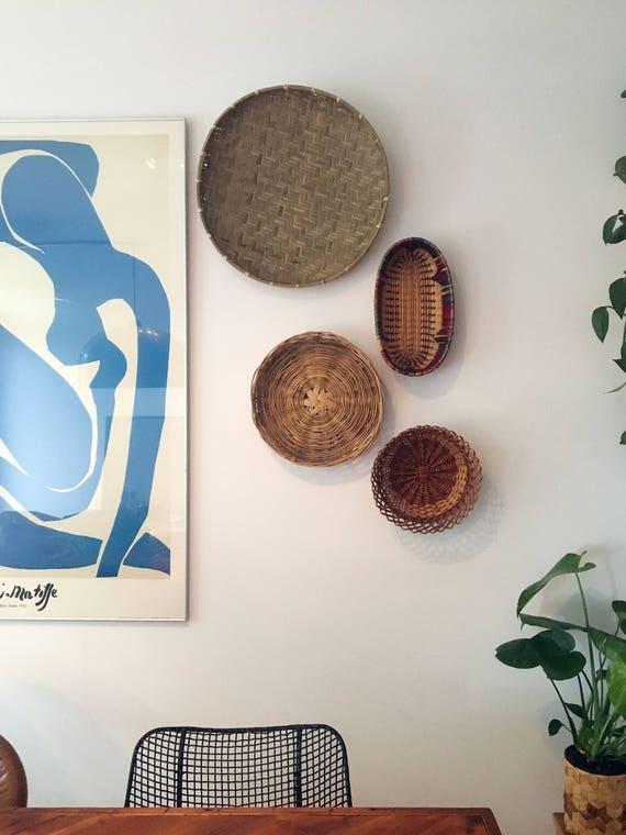 Vintage Set of 4 rattan baskets straw / wall baskets / Bohemian Decor / Decor Jungalow basket
