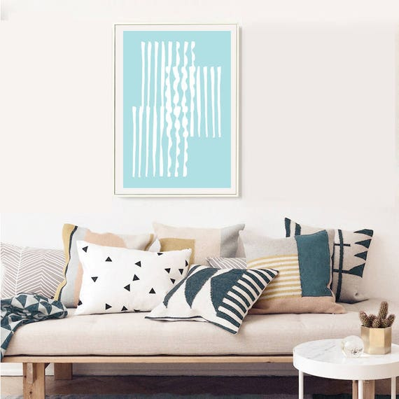 GRÈCE #007 // poster, Abstract art, 12x18, minimalist art print, geometric, mid century, Scandinavian style, blue, greece