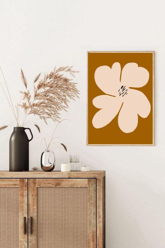 BIG FLOWER Mid century // Abstract Poster, 8x10, 10x10, 18x24, minimalist art print, boho, vintage, flower