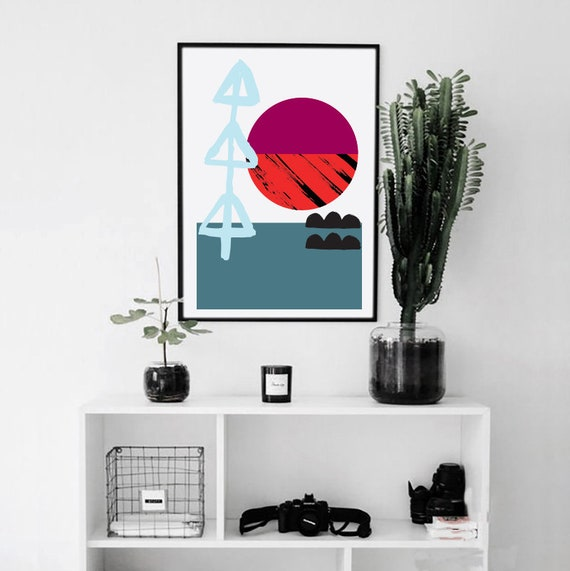 Meeting Point-04 // 12x18, Minimalist embroidered poster, mid-century inspiration, geometric shapes, orange, purple