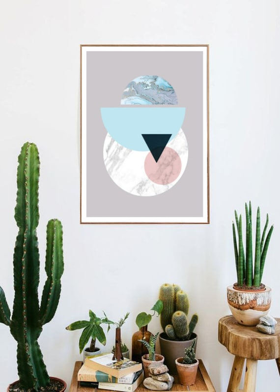 abstract SOLAR SYSTEM // Mid Century Poster, 12x18, minimalist art print, geometric print, Pastel colors, abstract, art, Triangles,  marble,