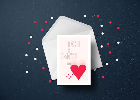 VALENTIN'S DAY you and me // Valentine's day Card, Scandinavian Design, printable card, Pastel colors, abstract art
