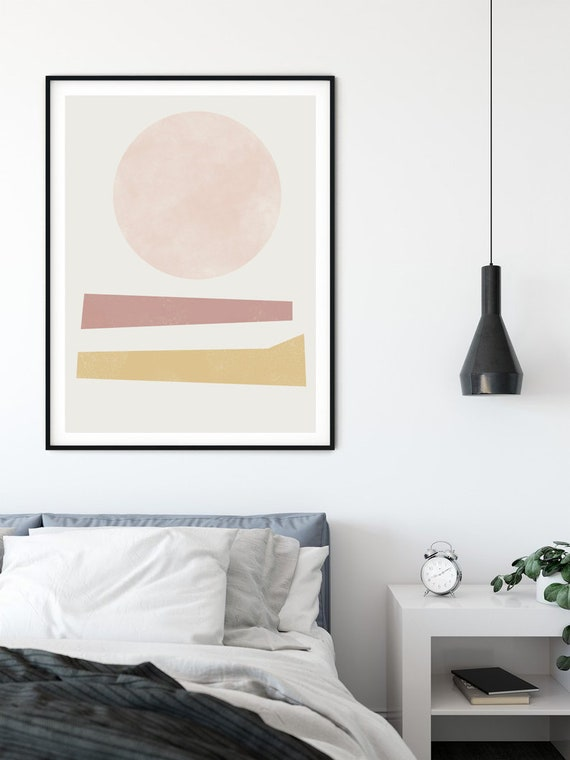 BLISS #02 // mid century modern, 16x20, 18X24, Minimalist poster, mid-century inspiration, geometric shapes, pink, wall art, boho decor, art