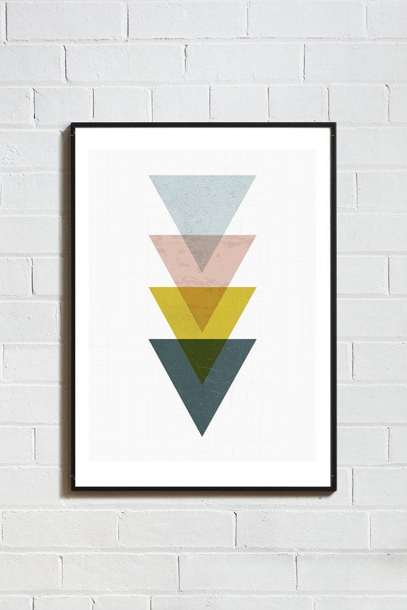 MID CENTURY TRIANGLES // Mid Century Poster,  12x18, art geometrique , abstrait