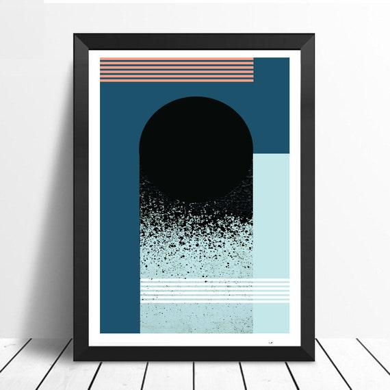 TROU NOIR // Mid Century Poster, 12x18, minimalist art print, geometric print, blue and pink, abstract