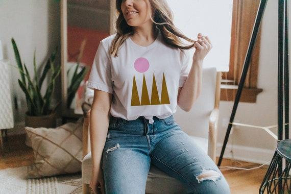MOUNTAIN TSHIRT // Short-Sleeve Unisex T-Shirt, white, abstract art, geometrie art, pastel colors, drawing, boho, vintage